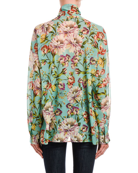 Image 2 of 2: Dolce & Gabbana Tie-Neck Floral Georgette Button-Front Blouse