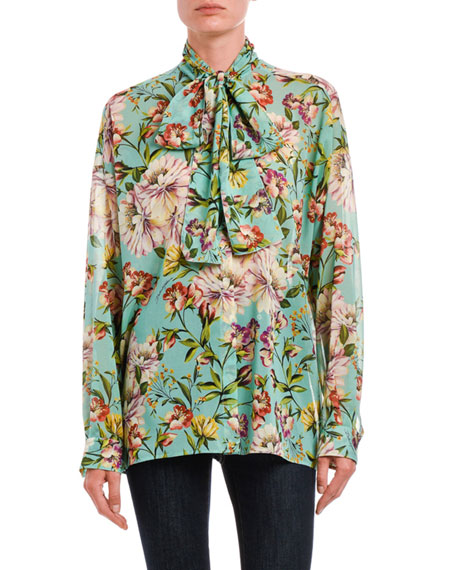 Image 1 of 2: Dolce & Gabbana Tie-Neck Floral Georgette Button-Front Blouse
