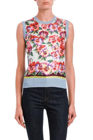Dolce & Gabbana Sleeveless Floral Silk-Front Shell