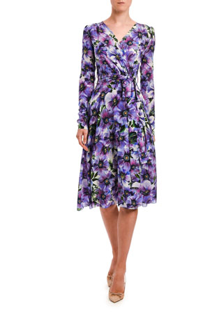 Dolce & Gabbana Floral Long-Sleeve Jersey Wrap Dress