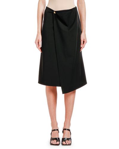 Draped Wrap-Front Gabardine Skirt