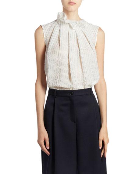 Nina Ricci Ruffled Silk Funnel-Neck Top