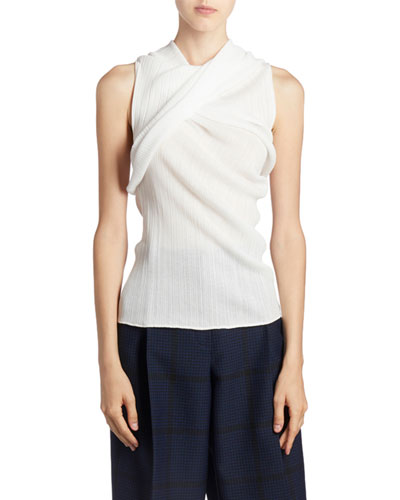 Sleeveless Ruched-Cotton Top
