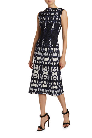 ALAIA Mesh Boat-Neck Sheath Dress