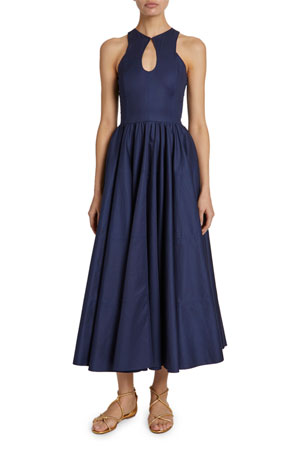 ALAIA Tiered Gabardine Keyhole-Neck Dress