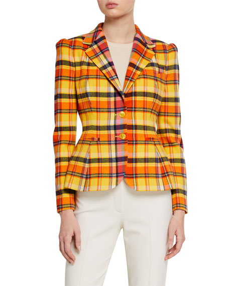 Image 2 of 3: Ralph Lauren Collection Eloise Plaid Blazer Jacket