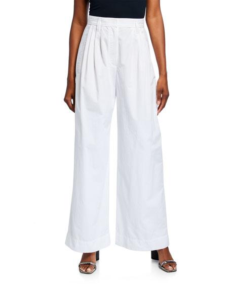Brunello Cucinelli Crinkled Poplin Pleated Wide-Leg Trousers