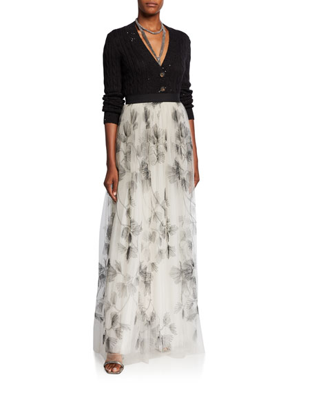 Brunello Cucinelli Tulle Embroidered Maxi Skirt