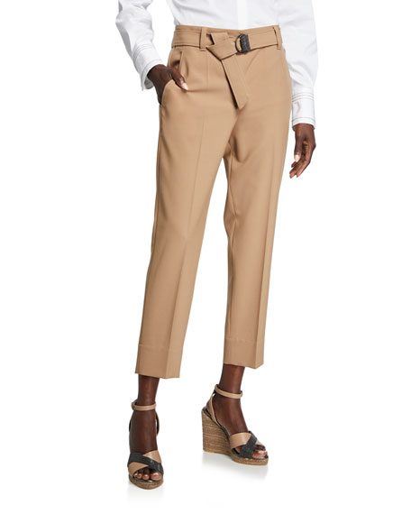 Brunello Cucinelli Monili-Beaded Wool Narrow Pants