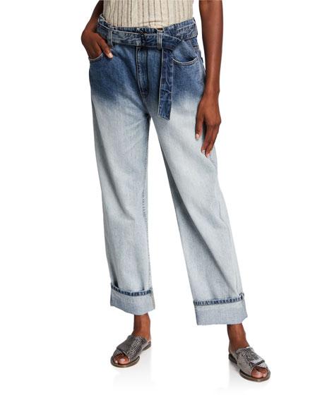 Brunello Cucinelli Belted Faded Boyfriend Jeans
