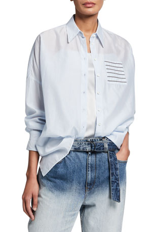 Brunello Cucinelli Cotton-Silk Voile Button-Front Blouse