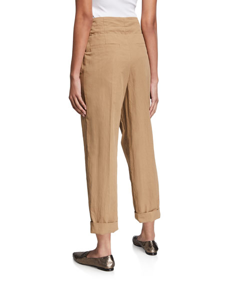 Brunello Cucinelli Pleated Paperbag-Waist Gabardine Pants