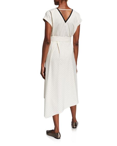 Brunello Cucinelli Striped Cap-Sleeve Dress