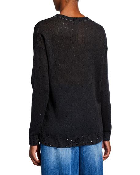 Brunello Cucinelli Sequined Linen-Silk Crewneck Sweater