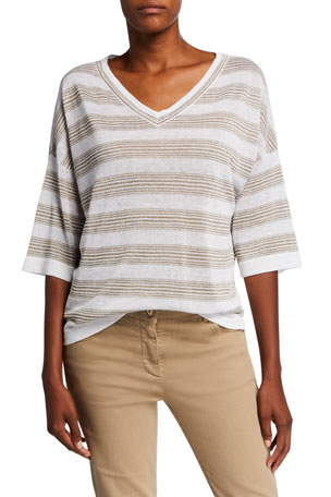 Brunello Cucinelli Golden-Striped V-Neck Shirt