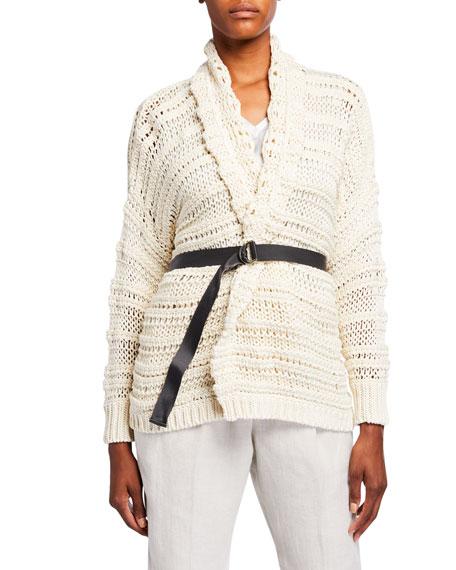 Brunello Cucinelli Netted Shawl Collar Wrap Cardigan with Grosgrain Belt