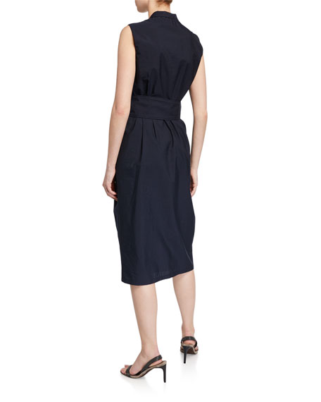 Brunello Cucinelli Crinkled Cotton V-Neck Midi Dress