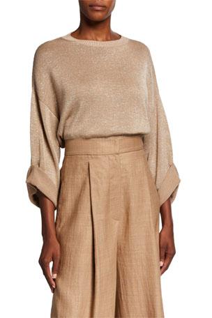 Brunello Cucinelli Metallic 3/4 Roll-Sleeve Sweater