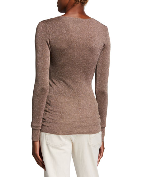 Brunello Cucinelli Shimmer V-Neck Fitted Sweater