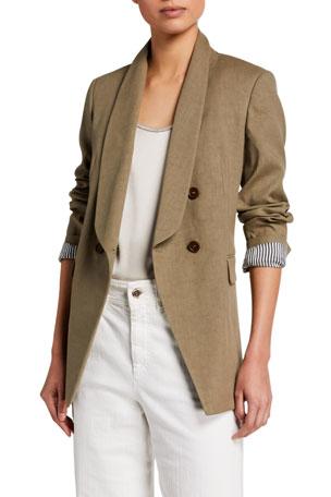 Brunello Cucinelli Double-Breasted Linen Blazer Jacket