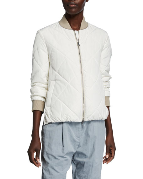 Image 2 of 3: Quilted Taffeta Bomber Jacket