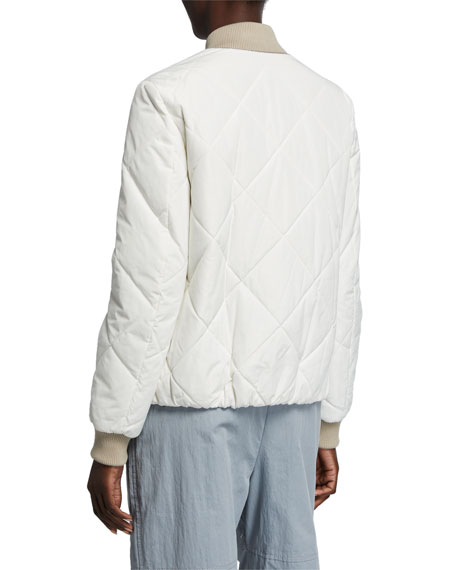 Image 3 of 3: Quilted Taffeta Bomber Jacket