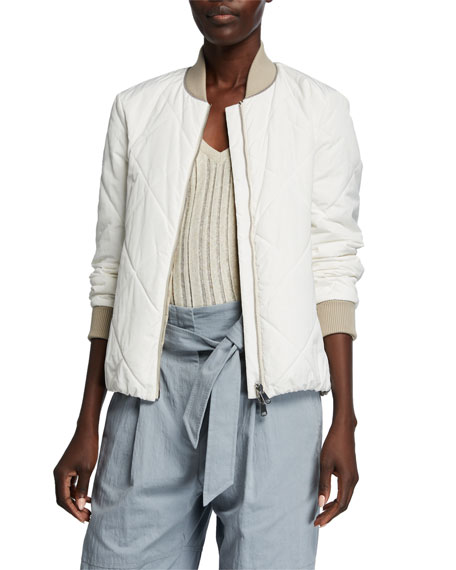 Image 1 of 3: Quilted Taffeta Bomber Jacket