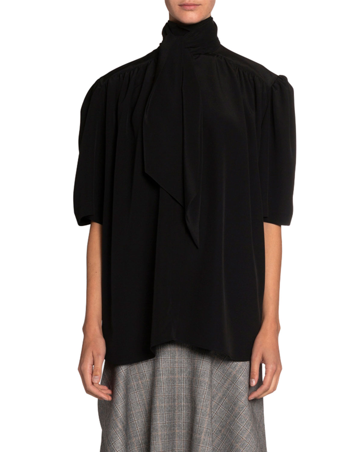 Balenciaga Fluid-Satin Scarf-Neck Blouse