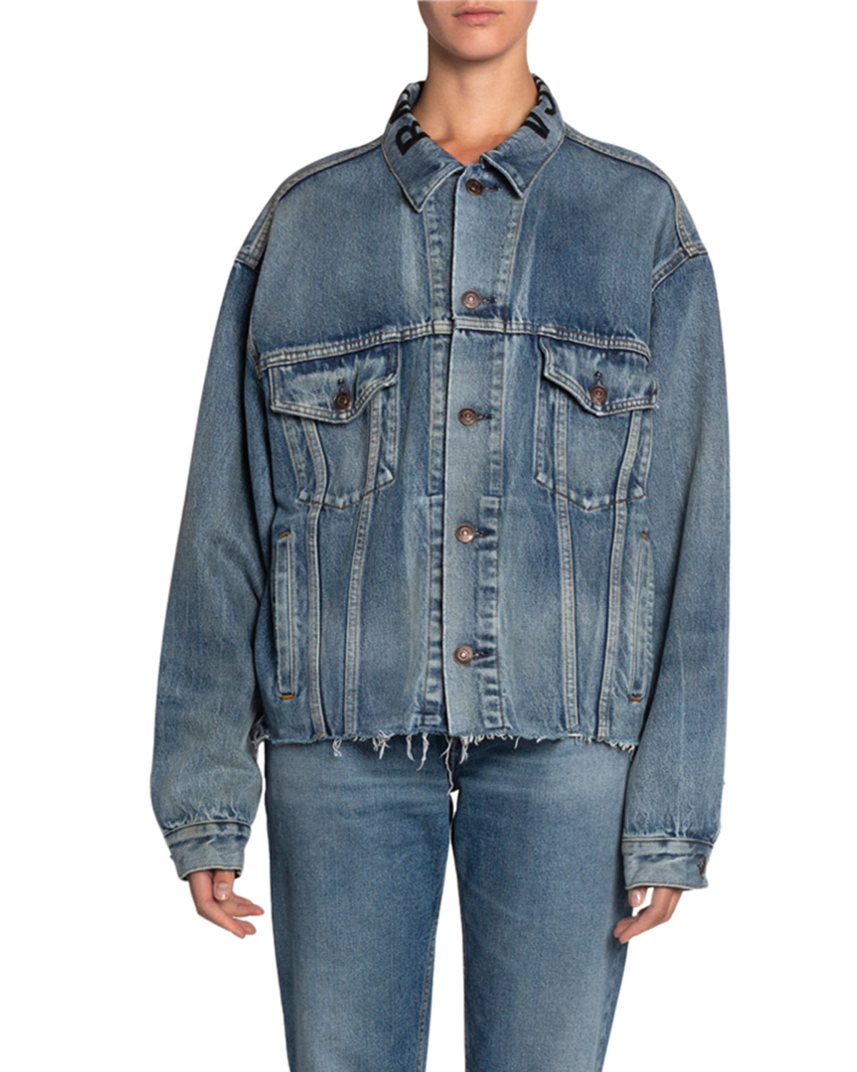 Balenciaga Raw-Hem Japanese Denim Jacket