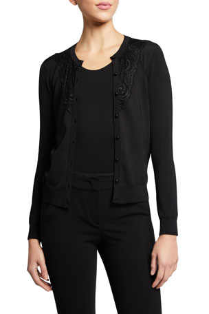 Emporio Armani Button-Front Stretch Knit & Lace Combo Cardigan