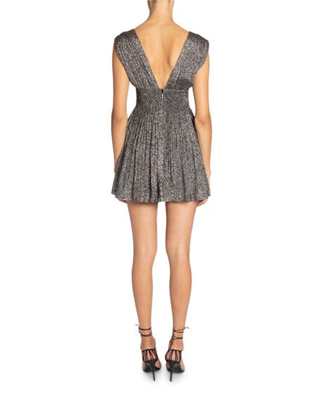 Saint Laurent Metallic Deep-V Mini Dress