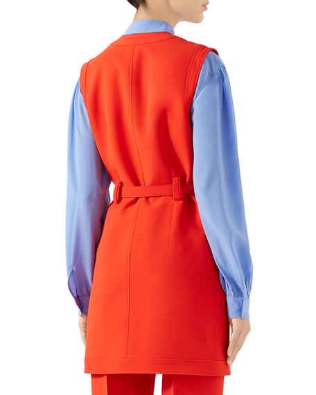 Gucci Belted Cady Button-Front Vest Dress