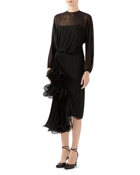 Gucci Silk Georgette Long-Sleeve Dress