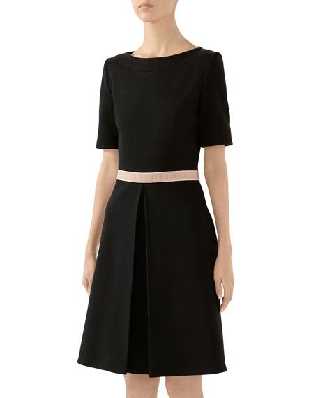 Gucci Short-Sleeve Retro Wool Jersey Dress