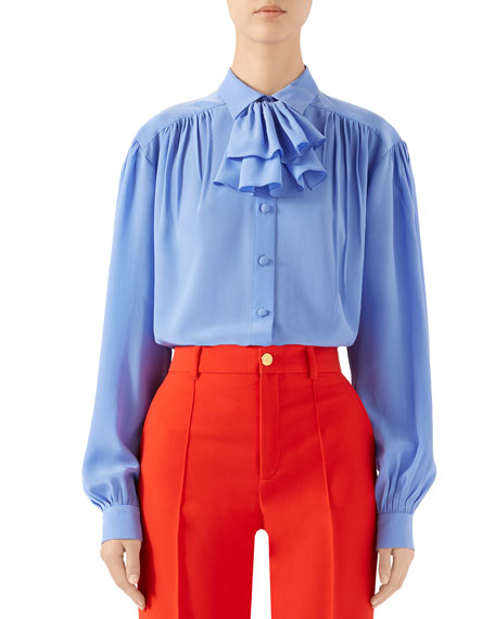 Gucci Ruffled Jabot Crepe de Chine Shirt
