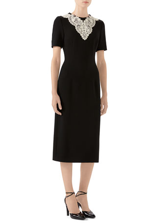 Gucci Short-Sleeve Tweed Pencil Dress With Lace Placket