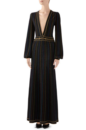Gucci Long Blouson-Sleeve Knit Deep V-neck Lame Stripe Long Dress