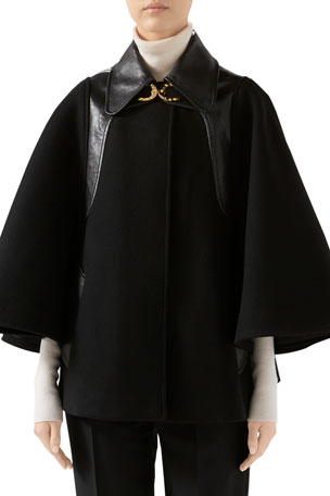 Gucci Military Cloth Cape Jacket With Leather Details And Horsebit Detail