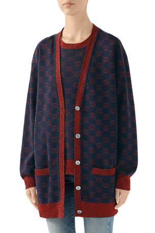 Gucci Lame GG V-Neck Oversized Cardigan