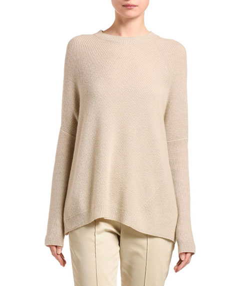 Agnona Cashmere Diagonal-Ribbed Poncho Sweater