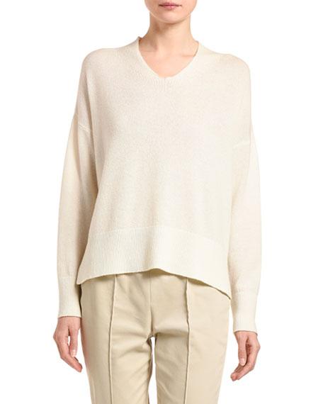 Agnona Cashmere V-Neck Slit-Side Sweater, Ivory