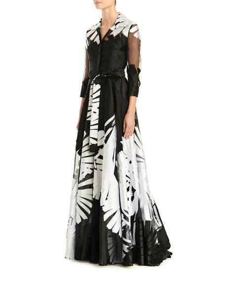 Carolina Herrera 3/4-Sleeve Printed Shirt Gown