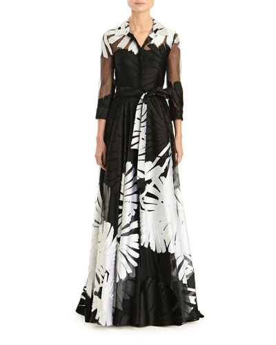3/4-Sleeve Printed Shirt Gown