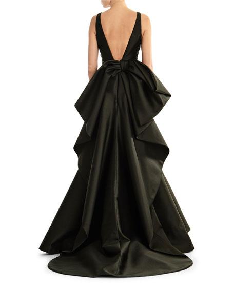 Carolina Herrera V-Neck Sleeveless Taffeta Trumpet Gown w/ Sequin Bodice