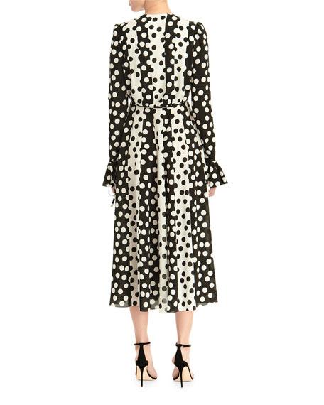 Carolina Herrera Long-Sleeve Polka Dot Midi Dress