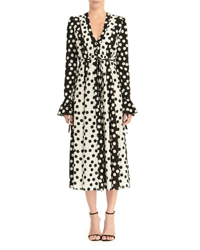 Long-Sleeve Polka Dot Midi Dress