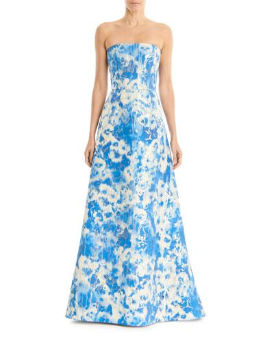 Tie Dye Metallic Strapless A-Line Gown