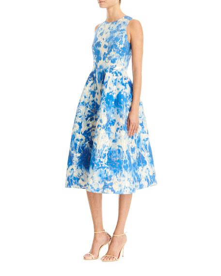 Carolina Herrera Tie-Dye Printed Sleeveless A-Line Midi Dress