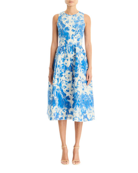 Carolina Herrera Dresses TIE-DYE PRINTED SLEEVELESS A-LINE MIDI DRESS
