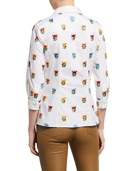 Image 2 of 2: Floral-Embroidered Short-Sleeve Shirt
